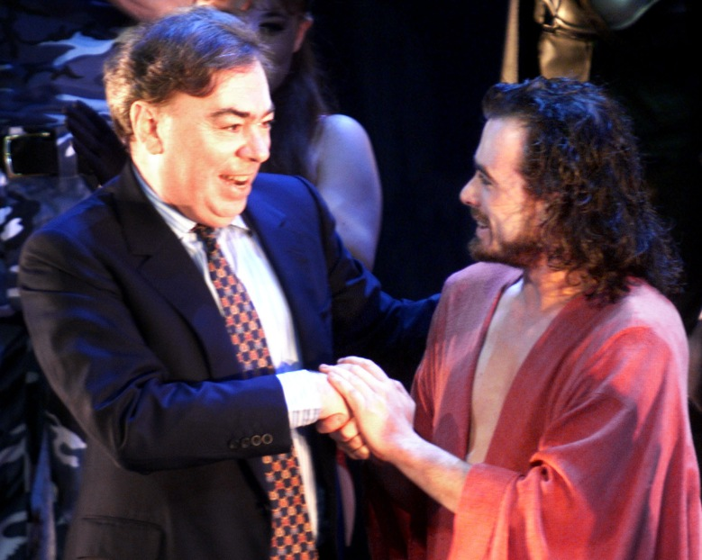 "WEBBER BYRNE Sir Andrew Lloyd Webber, left, shakes hands with the actor William Byrne, as Jesus, right, after the German premiere of the musical ""Jesus Christ Superstar"" Friday evening, January, 14, 2000 in the Colosseum Musical Theater in Essen, western Germany. The German musical production group Stella presents the original musical of Jesus Christ Superstar from British composer Andrew Lloyd Webber who joined the premiere celebrations in GermanyMUSICAL JESUS CHRIST, ESSEN, Germany"