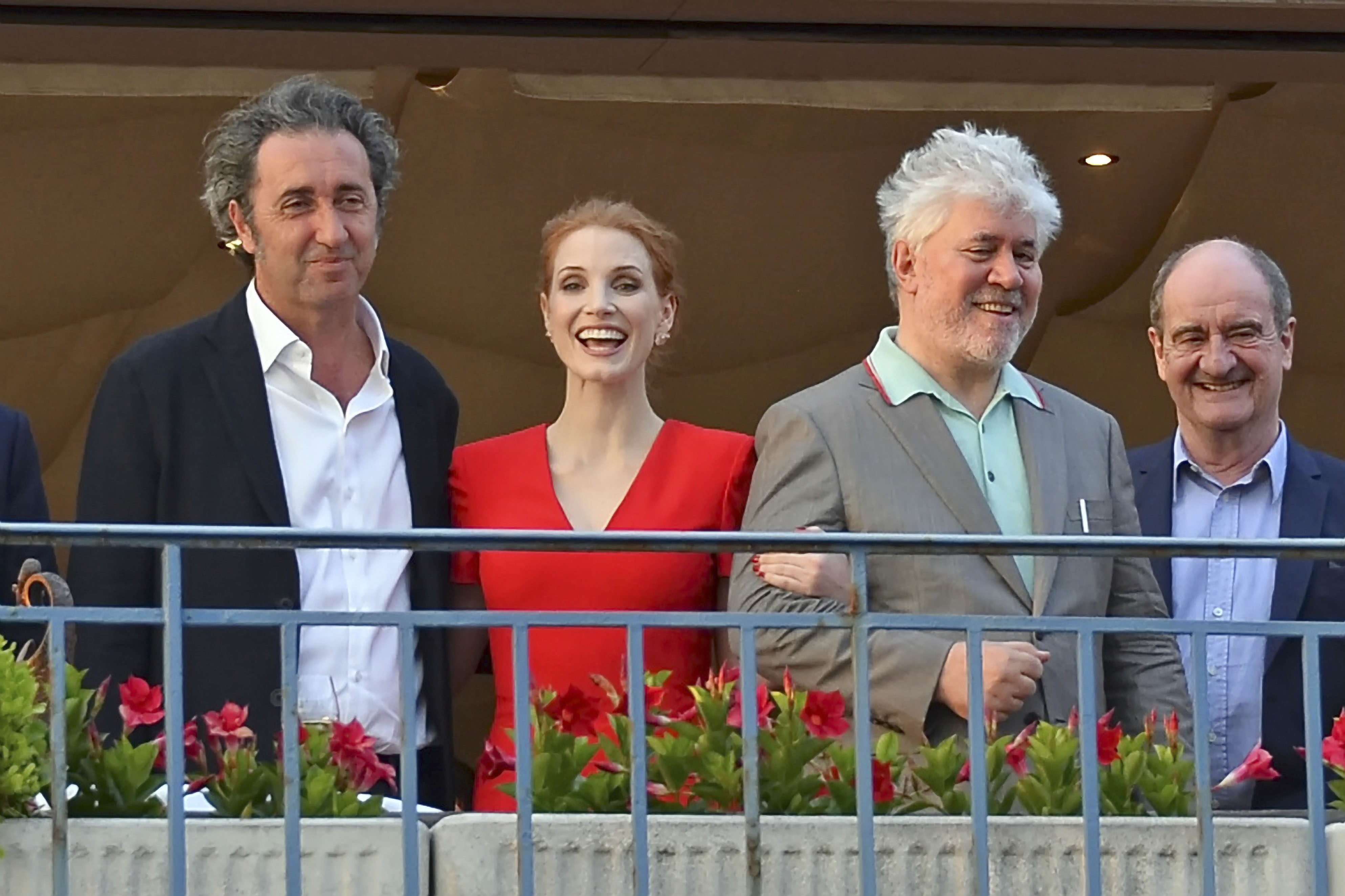 Paolo Sorrentino, Jessica Chastain, Pedro AlmodovarCANNES: Meeting of the Jury, Cannes, France - 16 May 2017