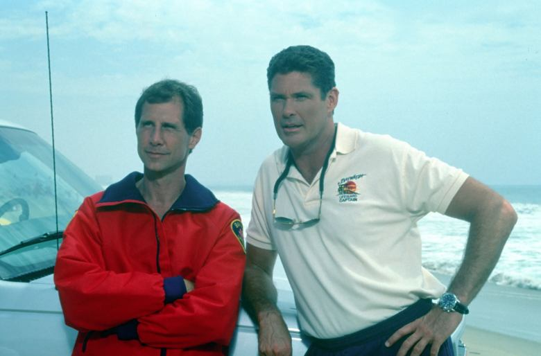 EDITORIAL USE ONLY / NO MERCHANDISINGMandatory Credit: Photo by FremantleMedia Ltd/REX/Shutterstock (892312aw) 'Baywatch' - Parker Stevenson as Craig Pomeroy, David Hasselhoff and Mitch Buchannon. THAMES TV ARCHIVE
