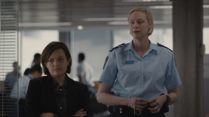 Robin Griffin (Elisabeth Moss) and Miranda Hilmarson (Gwendoline Christie) - Top of the Lake _ Season 2 - Photo Credit:  See-Saw Films (TOTL2) Holdings Pty Ltd/SundanceTV