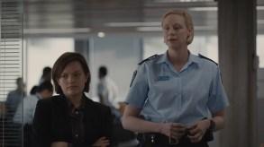 Robin Griffin (Elisabeth Moss) and Miranda Hilmarson (Gwendoline Christie) - Top of the Lake _ Season 2 - Photo Credit:  See-Saw Films (TOTL2) Holdings Pty Ltd/SundanceTV