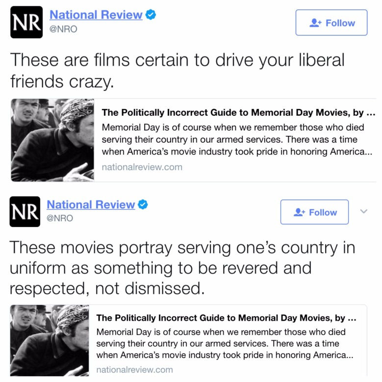 National Review Tweets promoting Herman's article