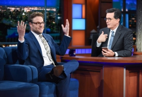 The Late Show with Stephen Colbert and guest Seth Rogen during Monday's June 19, 2017 show. Photo: Scott Kowalchyk/CBS