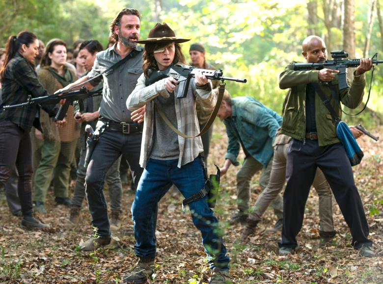 Andrew Lincoln as Rick Grimes, Chandler Riggs as Carl Grimes, Seth Gilliam as Father Gabriel Stokes- The Walking Dead _ Season 7, Episode 15 - Photo Credit: Gene Page/AMC