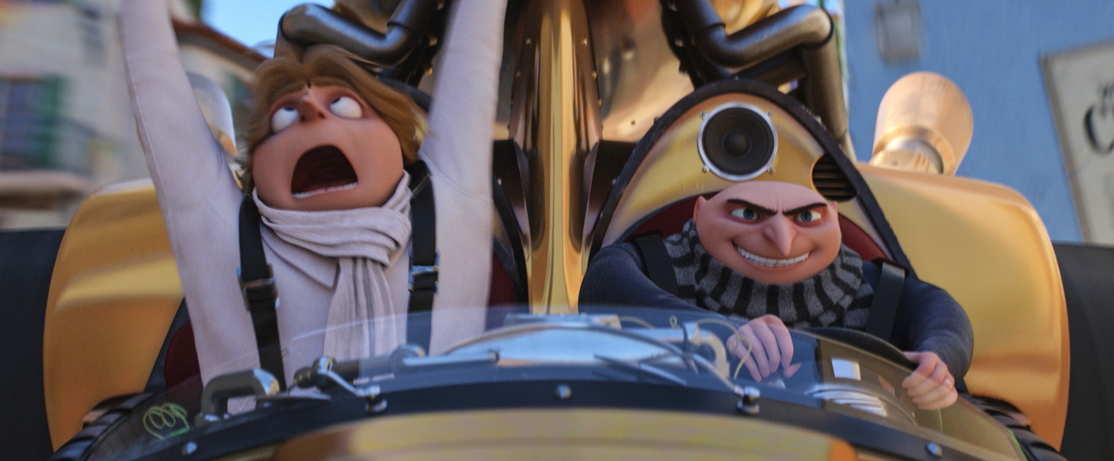 "(L to R) Dru (STEVE CARELL) and Gru (STEVE CARELL) in ""Despicable Me 3."" Illumination, who brought moviegoers ""Despicable Me"" and the biggest animated hits of 2013 and 2015, ""Despicable Me 2"" and ""Minions,"" continues the story of Gru, Lucy, their adorable daughters—Margo, Edith and Agnes—and the Minions as one former super-villain rediscovers just how good it feels to be bad."