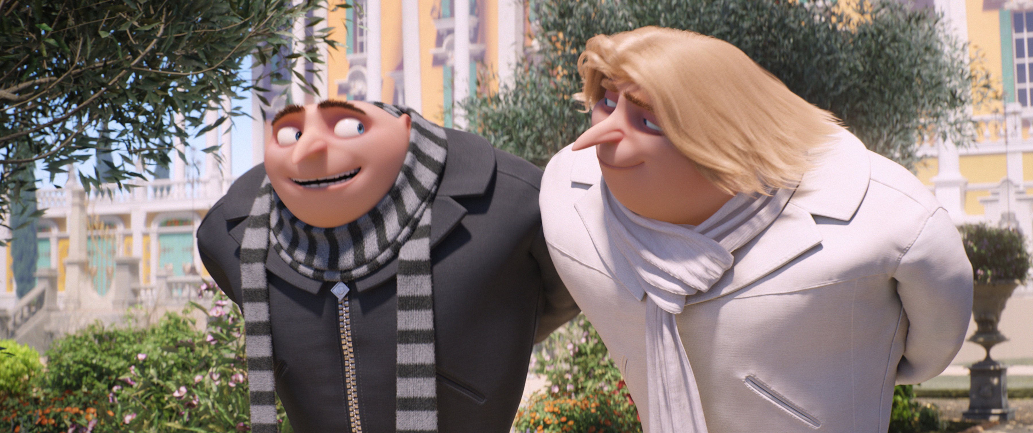 "(L to R) Gru (STEVE CARELL) and Dru (STEVE CARELL) in ""Despicable Me 3."" Illumination, who brought moviegoers ""Despicable Me"" and the biggest animated hits of 2013 and 2015, ""Despicable Me 2"" and ""Minions,"" continues the story of Gru, Lucy, their adorable daughters—Margo, Edith and Agnes—and the Minions as one former super-villain rediscovers just how good it feels to be bad."