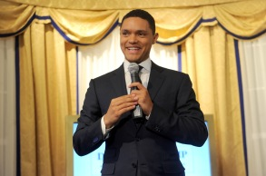 NEW YORK, NY - JUNE 15:  Daily Show Host Trevor Noah speaks onstage during The Donald J. Trump Presidential Twitter Library Press Preview presented by Comedy Centrals The Daily Show on June 15, 2017 in New York City.  (Photo by Brad Barket/Getty Images for Comedy Central)