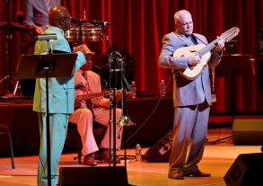 Barbarito Torres (r) Laoud Player and Other Members of the Cuban Band Buena Vista Social Club Perform Their 'Adios Tour' (goodbye Tour) at Knight Concert Hall in Miami Florida Usa 22 October 2015 Orquesta Buena Vista Social Club Has Been Touring the Globe in Different Forms and Combinations Since 1997 They Go on Tour One Final Time with a Series of Concerts and Related Cultural Events That Will Celebrate the Orquestas Storied Journey As Ambassadors For Cuban Music United States MiamiUsa Buena Vista Social Club Miami - Oct 2015