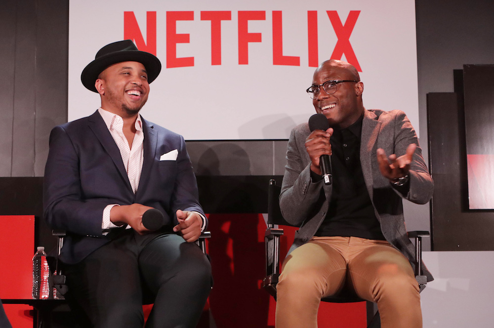 Creator/Exec. Producer Justin Simien and Director Barry Jenkins seen at 'Dear White People' Netflix FYSee exhibit space with a Q&A on Sunday, June 04, 2017, in Los Angeles. (Photo by Eric Charbonneau/Invision for Netflix/AP Images)