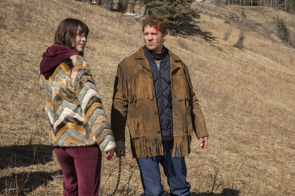 "FARGO -- ""Who Rules the Land of Denial?"" – Year 3, Episode 8 (Airs June7, 10:00 pm e/p) Pictured (l-r): Mary Elizabeth Winstead as Nikki Swango, Russell Harvard as Mr. Wrench.. CR: Chris Large/FX"