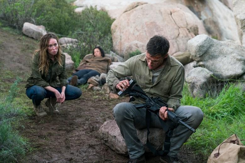Alycia Debnam-Carey as Alicia Clark, Danay Garcia as Luciana, Sam Underwood as Jake Otto- Fear the Walking Dead _ Season 3, Episode 2 - Photo Credit: Michael Desmond/AMC