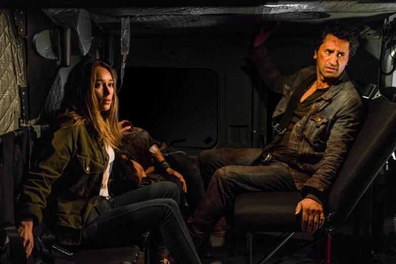 Cliff Curtis as Travis Manawa, Alycia Debnam-Carey as Alicia Clark, Danay Garcia as Luciana- Fear the Walking Dead _ Season 3, Episode 2 - Photo Credit: Michael Desmond/AMC