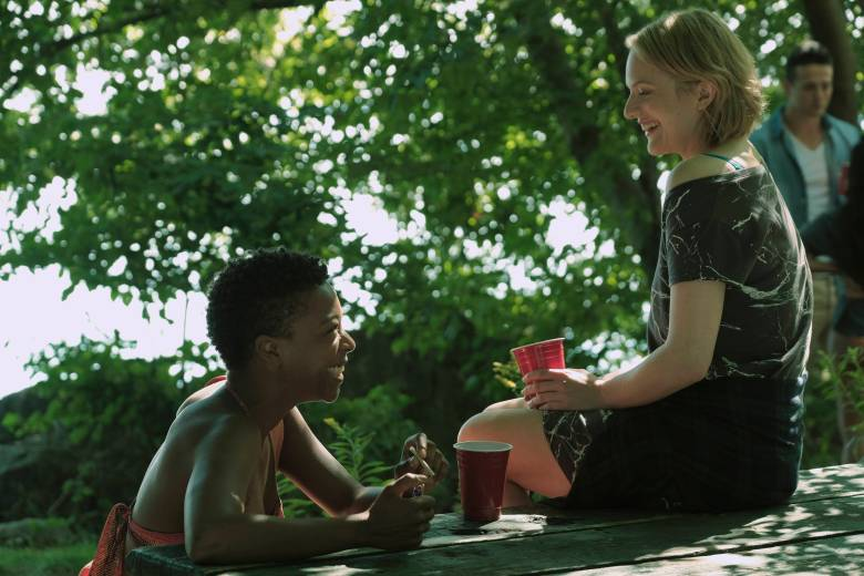 "The Handmaid's Tale -- ""Offred"" -- Episode 101 -- Offred, one the few fertile women known as Handmaids in the oppressive Republic of Gilead, struggles to survive as a reproductive surrogate for a powerful Commander and his resentful wife. Moira (Samira Wiley) and Offred (Elisabeth Moss), shown. (Photo by: George Kraychyk/Hulu)"