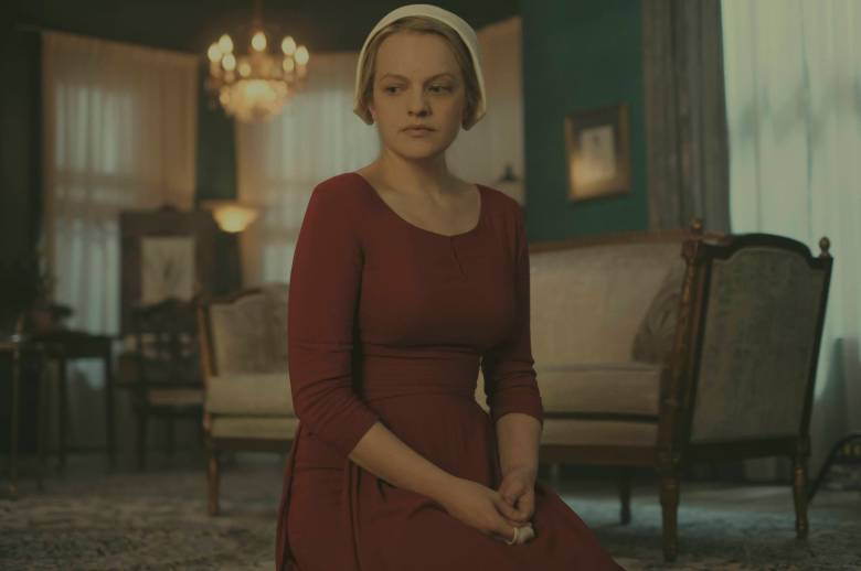 """The Handmaid's Tale  -- """"Nolite Te Bastardes Carborundorum"""" Episode 104 --  Punished by Serena Joy, Offred begins to unravel and reflects on her time with Moira at the Red Center. A complication during the Ceremony threatens Offred's survival with the Commander and Serena Joy. Offred (Elisabeth Moss), shown. (Photo by: George Kraychyk/Hulu)"""
