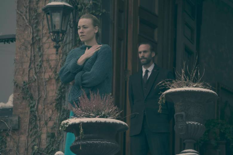 "The Handmaid's Tale -- ""Night"" Episode 110 -- Serena Joy confronts Offred and the Commander. Offred struggles with a complicated, life-changing revelation. The Handmaids face a brutal decision. Serena Joy (Yvonne Strahovski) and Commander Waterford (Joseph Fiennes), shown. (Photo by: George Kraychyk/Hulu)"