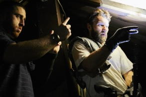 "Trey Edward Shults and Joel Edgerton on the set of ""It Comes At Night"""