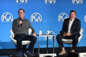 Jerry Seinfeld and Ted Sarandos attend the 9th annual Produced By Conference at Twentieth Century Fox on Saturday, June 10, 2017 in Los Angeles. (Photo by Jordan Strauss/Invision for Producers Guild of America/AP Images)
