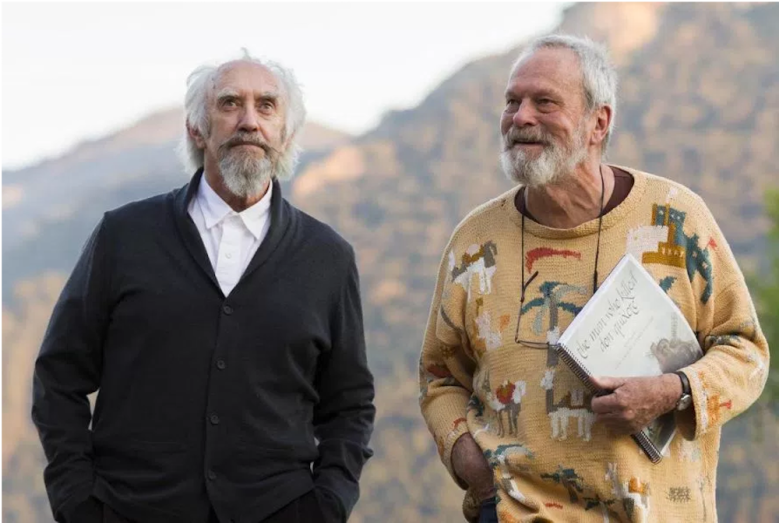 "Gilliam and Jonathan Pryce during the shooting of ""The Man Who Killed Don Quixote"""