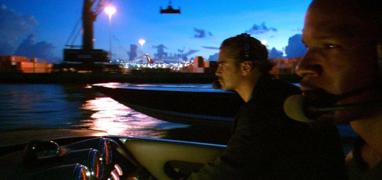 Michael Mann, Miami Vice, Colin Farrell, Jamie Foxx boat