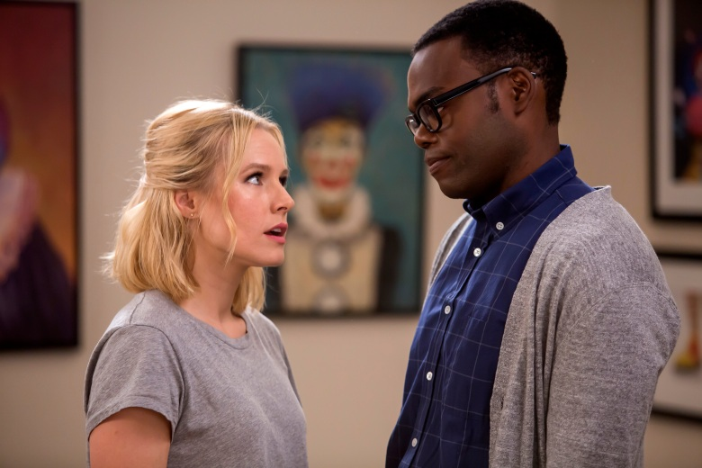 "THE GOOD PLACE -- ""Category 55 Emergency Doomsday Crisis"" Episode 109 -- Pictured: (l-r) Kristen Bell as Eleanor, William Jackson Harper as Chidi -- (Photo by: Ron Batzdorff/NBC)"
