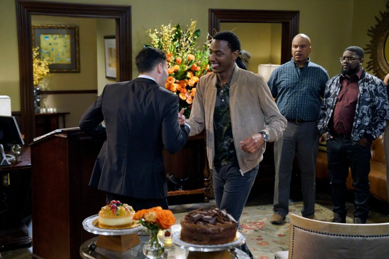 "THE CARMICHAEL SHOW -- ""Cynthia's Birthday"" Episode 303 -- Pictured: (l-r) Drew Michael as Drew, Jerrod Carmichael as Jerrod Carmichael, David Alan Grier as Joe Carmichael, Lil'Rel Howery as Bobby Carmichael -- (Photo by: Chris Haston/NBC)"