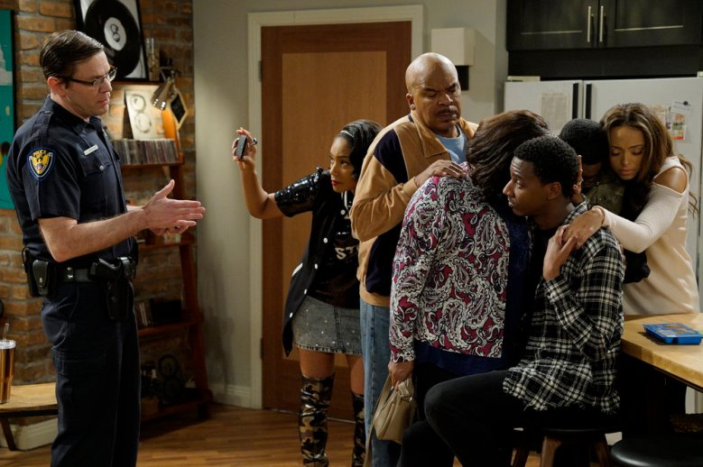 "THE CARMICHAEL SHOW -- ""Shoot-up-able"" Episode 304 -- Pictured: (l-r) Carlos Jacott as Officer, Tiffany Haddish as Nekeisha Wiliams, David Alan Grier as Joe Carmichael, Loretta Devine as Cynthia Carmichael, Jerrod Carmichael as Jerrod Carmichael, Lil Rel Howery as Bobby Carmichael, Amber Stevens West as Maxine North -- (Photo by: Chris Haston/NBC)"