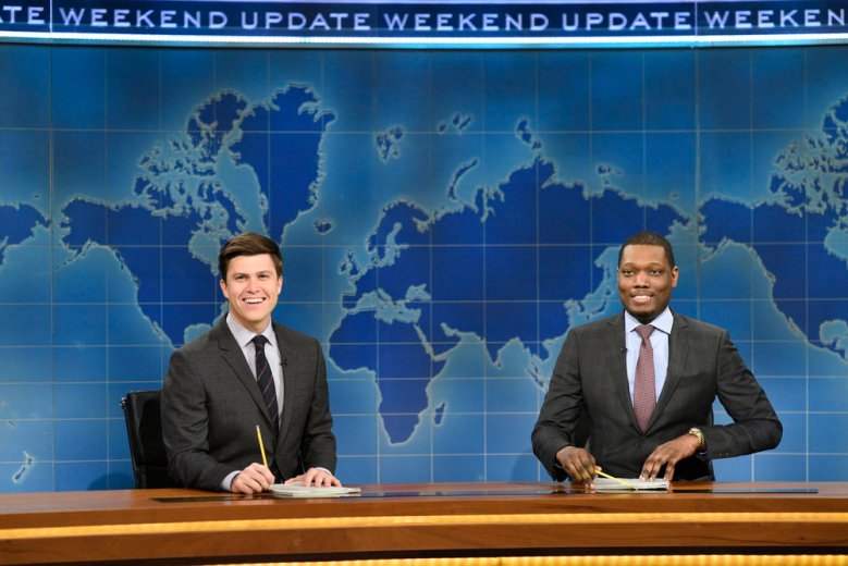 "SATURDAY NIGHT LIVE -- ""Octavia Spencer"" Episode 1719 -- Pictured: (l-r) Colin Jost and Michael Che during Weekend Update on March 4, 2017 -- (Photo by: Will Heath/NBC)"