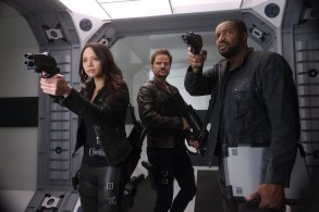 """DARK MATTER -- """"It Doesn't Have To Be Like This"""" Episode 302 -- Pictured: (l-r) Melissa O'Neil as Two, Anthony Lemke as Three, Roger Cross as Six -- (Photo by: Stephen Scott/Dark Matter Series 3/Syfy)"""