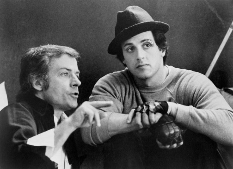 """John G. Avildsen and Sylvester Stallone on the set of """"Rocky"""""""
