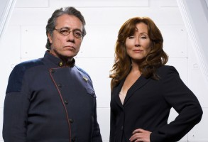 No Merchandising. Editorial Use Only. No Book Cover Usage.Mandatory Credit: Photo by Sci-Fi Channel/Kobal/REX/Shutterstock (5886263bb)Edward James Olmos, Mary McDonnellBattlestar Galactica - 2003Director: Michael RymerSci-Fi ChannelUSATV Portrait
