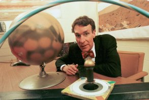 NYE Bill Nye poses with a model of a sundial in Ithaca, N.Y., that is scheduled to be sent to Mars in 2002, in this photo. Nye is upset about the Kansas State Board of Education's new standards for statewide science tests. They de-emphasize evolution, particularly the concept that man and apes evolved from a common ancestor. Nye is the creator and host of ''Bill Nye the Science Guy,'' a show for children broadcast on public television and in syndicationMAD SCIENCE GUY, ITHACA, USA