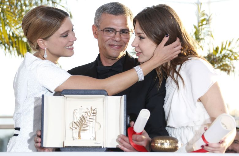 French Actress Adele Exarchopoulos (r) French Actress Lea Seydoux (l) and Tunisian Director Abdellatif Kechiche (c) Pose During the Award Winners Photocall After They Won the Palme D'or Award For the Movie 'La Vie D'adele' (blue is the Warmest Color) at the 66th Annual Cannes Film Festival in Cannes France 26 May 2013 the Festival Runs From 15 Ro 26 May 2013 France CannesFrance Cannes Film Festival 2013 - May 2013
