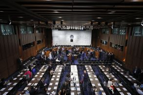 Copyright 2017 The Associated Press. All rights reserved. This material may not be published, broadcast, rewritten or redistributed without permission.Mandatory Credit: Photo by AP/REX/Shutterstock (8860674a)The hearing room is prepared for Former FBI Director James Comey to appear before the Senate Intelligence Committee, on Capitol Hill, in WashingtonComey, Washington, USA - 08 Jun 2017