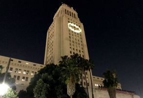Bat-signal Adam West Tribute in Los Angeles