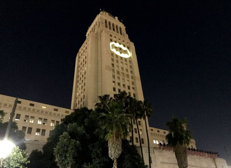 Bat-signal Adam West Tribute in Los Angeles