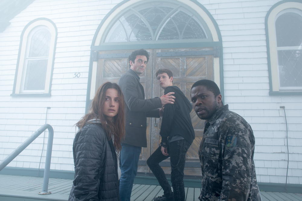Mia Lambert (Danica Curcic), Kevin Copeland (Morgan Spector) Adrian Garf (Russell Posner) and Bryan Hunt (Okezie Morro), seek sanctuary in a local church from an eerie and foreboding mist containing a myriad of inexplicable and bizarre threats puts their humanity to the test in Spike TV's THE MIST, based on a story by Stephen King, which premieres Thursday, June 22 at 10 PM, ET/PT.