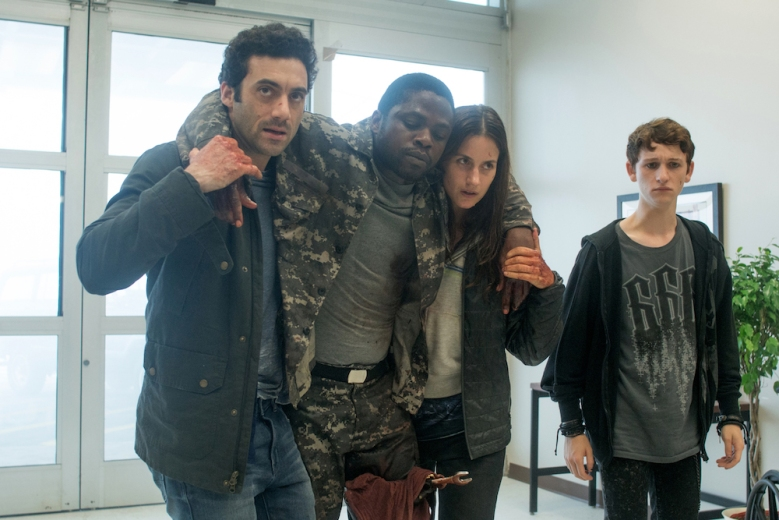 From l to r: Kevin Copeland (Morgan Spector) reaches a local hospital for his friend Bryan Hunt (Okezie Morro) along with Mia Lambert (Danica Curcic) and Adrian Garf (Russell Posner) as they try to cope with the mist. Based on a story by Stephen King, Spike TV's THE MIST premieres on Thursday, June 22 at 10 PM, ET/PT.
