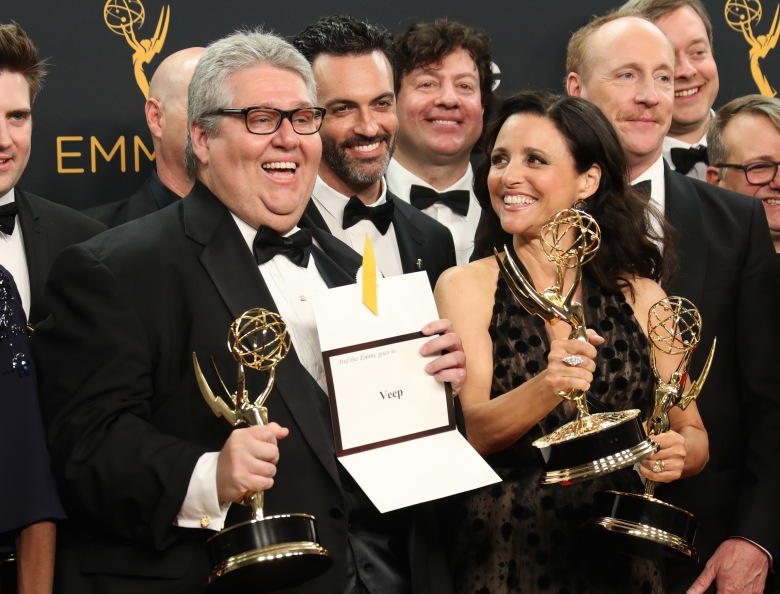 David Mandel, Julia Louis-Dreyfus and the cast and crew of Veep68th Primetime Emmy Awards, Press Room, Los Angeles, USA - 18 Sep 2016