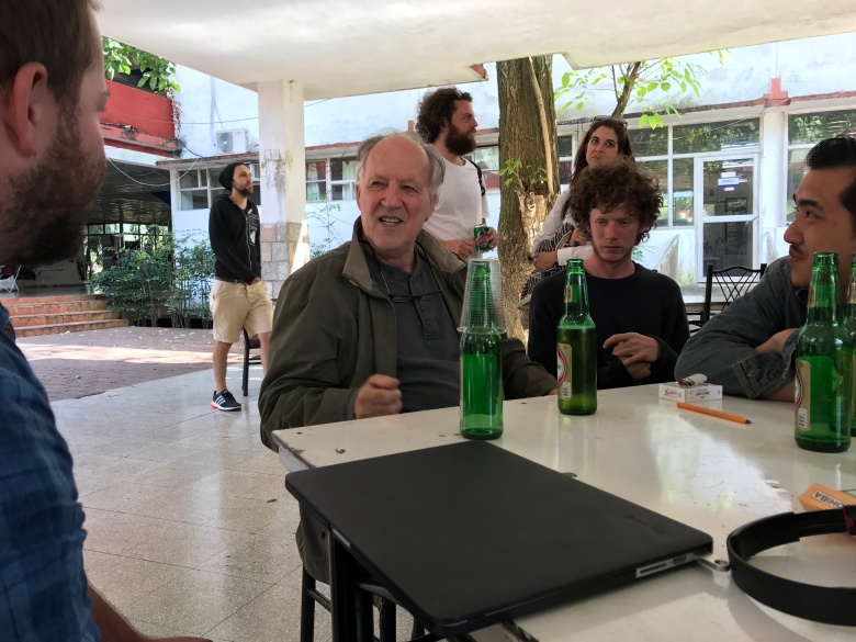 Werner Herzog with his students in Cuba