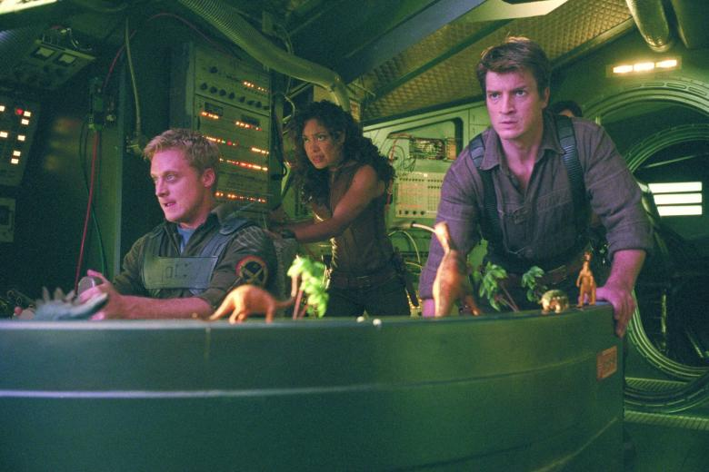 No Merchandising. Editorial Use Only. No Book Cover UsageMandatory Credit: Photo by Snap Stills/REX/Shutterstock (2129157v) Alan Tudyk, Nathan Fillion and Gina Torres Firefly - 2002