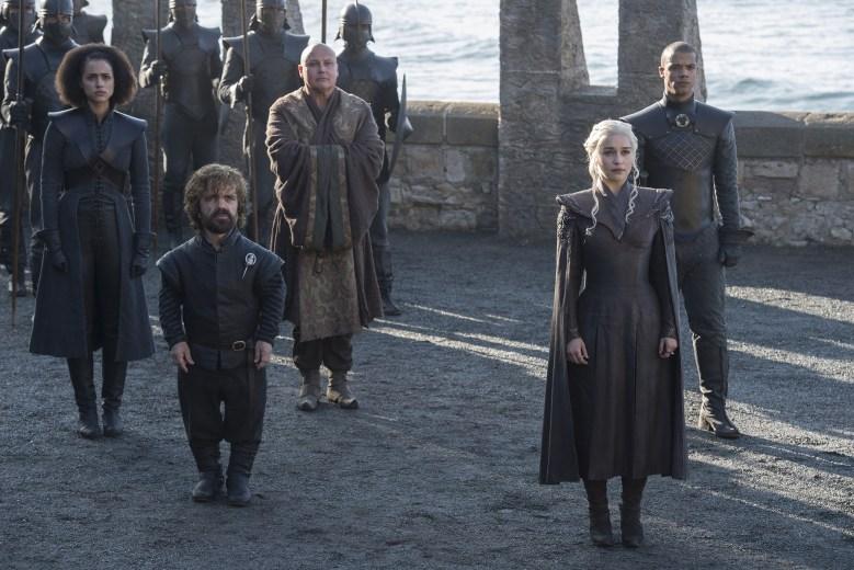 "Nathalie Emmanuel, Peter Dinklage, Conleth Hill, Emilia Clarke, and Jacob Anderson, ""Game of Thrones"""