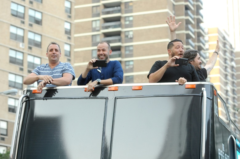 "NEW YORK, NY - SEPTEMBER 03: (L-R) Joseph ""Joe"" Gatto, James ""Murr"" Murray, Salvatore ""Sal"" Vulcano, and Brian ""Q"" Quinn attend the Impractical Jokers 100th Episode Live Punishment Special at the South Street Seaport on September 3, 2015 in New York City. 25654_003 (Photo by Brad Barket/Getty Images for Turner) *** Local Caption *** Joseph Gatto; James Murray; Salvatore Vulcano; Brian Quinn"