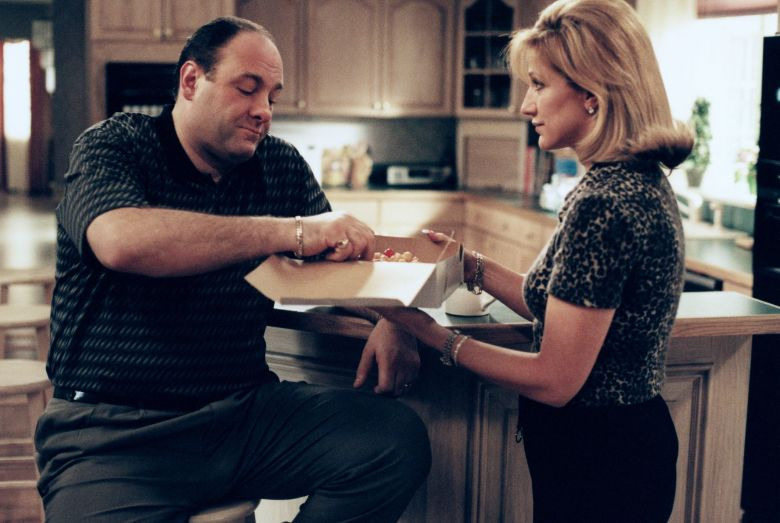 No Merchandising. Editorial Use Only. No Book Cover Usage.Mandatory Credit: Photo by Barry Wetcher/Hbo/Kobal/REX/Shutterstock (5867589c) James Gandolfini, Edie Falco The Sopranos - 2002 Hbo Television