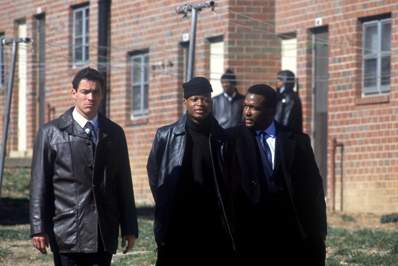 No Merchandising. Editorial Use Only. No Book Cover Usage.Mandatory Credit: Photo by David Lee/Hbo/Blown Deadline/REX/Shutterstock (5883870o)Dominic West, Larry Gilliard Jr, Wendell PierceThe Wire - 2002Hbo/Blown DeadlineUSATelevisionMusic