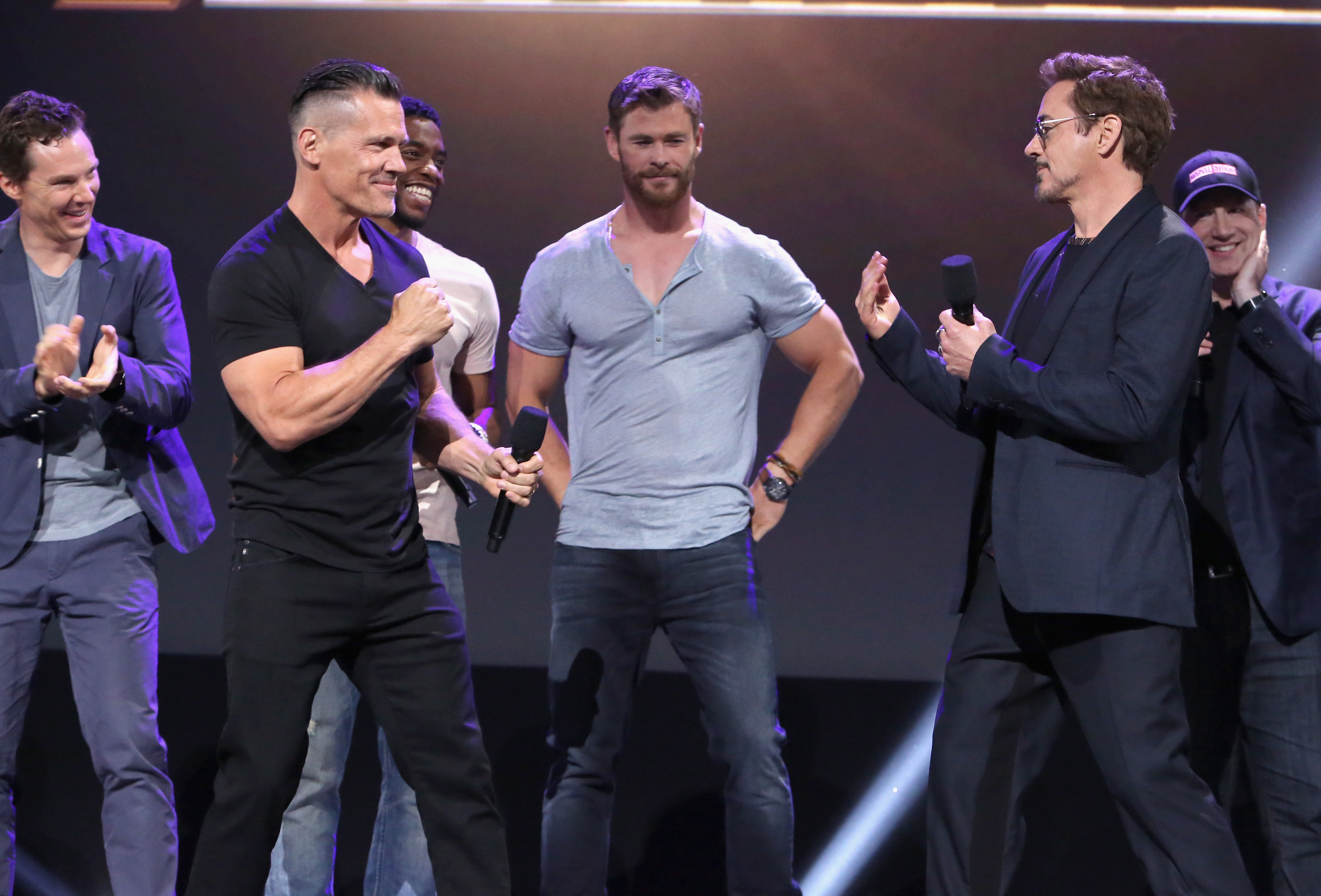 ANAHEIM, CA - JULY 15: (L-R) Actors Benedict Cumberbatch, Josh Brolin, Chadwick Boseman, Chris Hemsworth, and Robert Downey Jr. and producer Kevin Feige of AVENGERS: INFINITY WAR took part today in the Walt Disney Studios live action presentation at Disney's D23 EXPO 2017 in Anaheim, Calif. AVENGERS: INFINITY WAR will be released in U.S. theaters on May 4, 2018. (Photo by Jesse Grant/Getty Images for Disney) *** Local Caption *** Benedict Cumberbatch; Josh Brolin; Chadwick Boseman; Robert Downey Jr.; Kevin Feige; Chris Hemsworth
