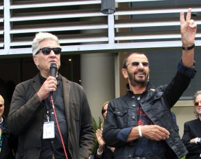 Uk Musician Ringo Starr is on Stage with Us Director David Lynch (l) at a Celebration of His 75th Birthday at Capitol Records in Hollywood Los Angeles California Usa 07 July 2015 the Former Beatle Celebrated with a Peace & Love Salute at Noon with Friends and Fans United States Los AngelesUsa Music - Jul 2015
