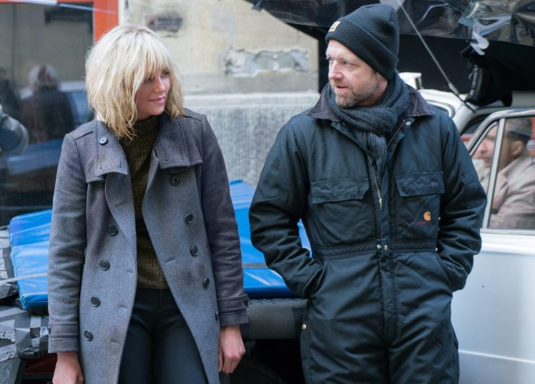 "Charlize Theron and director David Leitch on ""Atomic Blonde"" set"