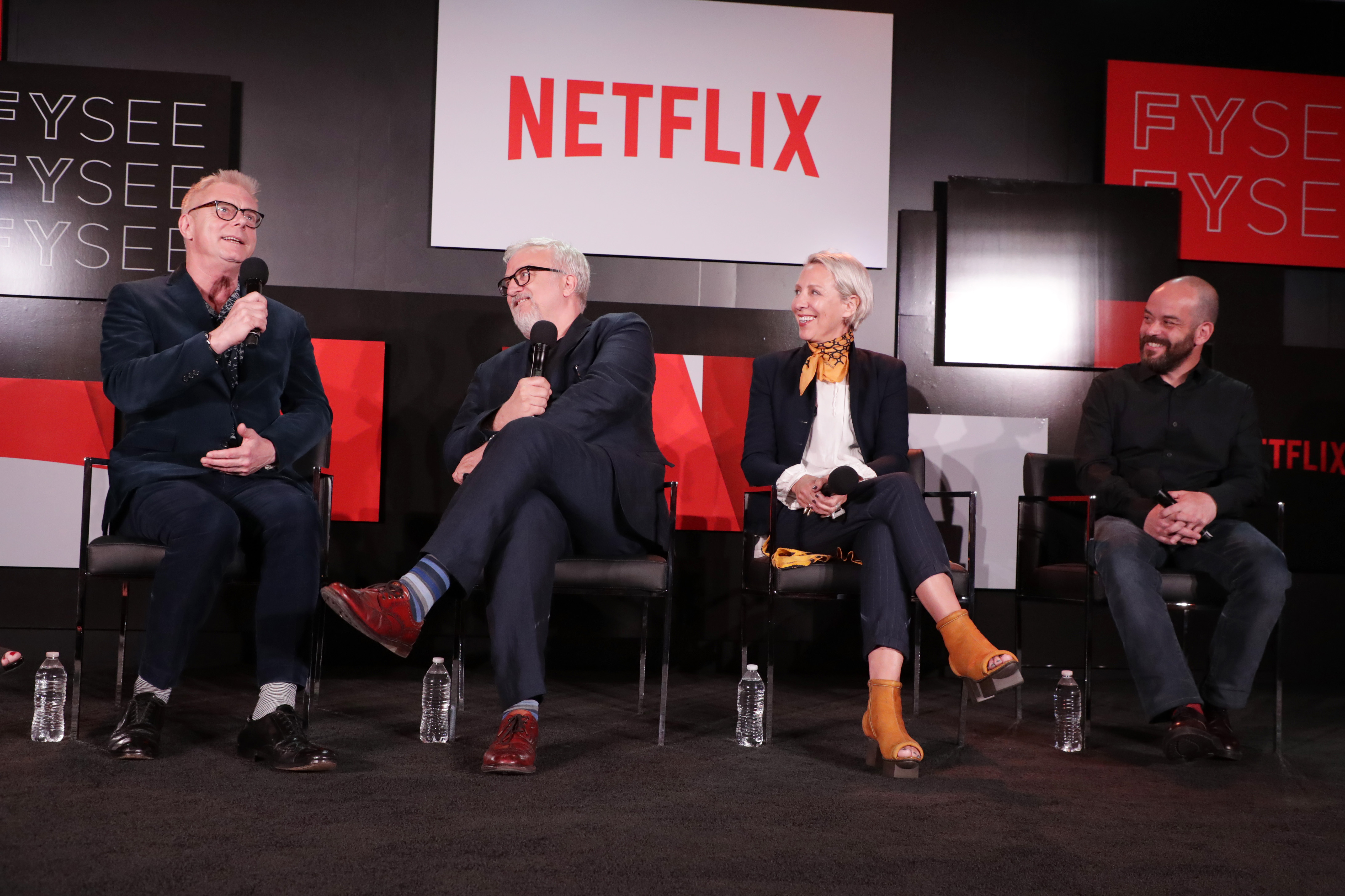 Stephen Daldry, Martin Childs, Michele Clapton, Adriano Goldman'The Crown' panel Q and A, Netflix FYSee exhibit space, Los Angeles, USA - 18 May 2017