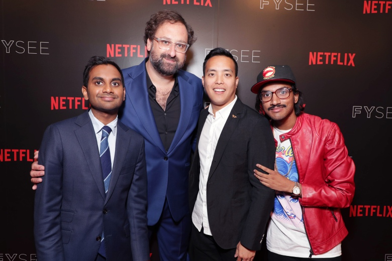 Aziz Ansari, Eric Wareheim, Alan Yang and Aniz Ansari seen at 'Master of None' Netflix FYSee exhibit space with a Q&A at the Samuel Goldwyn Theater on Thursday, June 01, 2017, in Los Angeles. (Photo by Eric Charbonneau/Invision for Netflix/AP Images)