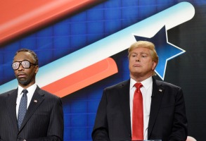 """SATURDAY NIGHT LIVE -- """"Tina Fey and Amy Poehler"""" Episode 1692 -- Pictured: (l-r) Pete Davidson as Marco Rubio, Jay Pharoah as Dr. Ben Carson, and Darrell Hammond as Donald Trump during the """"GOP Debate Cold Open"""" sketch on December 19, 2015 -- (Photo by: Dana Edelson/NBC)"""